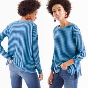 J. Crew Deck-Striped Long-Sleeve Boat Neck Shirt